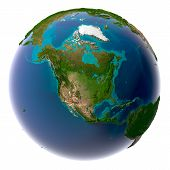 image of planet earth  - Earth with translucent water in the oceans and the detailed topography of the continents - JPG