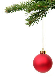 image of christmas ornament  - red christmas ornament hanging from christmas tree - JPG