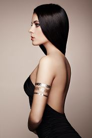 image of flashing  - Fashion portrait of elegant woman with magnificent hair - JPG