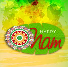 foto of pookolam  - illustration of a colorful background for Onam celebration - JPG