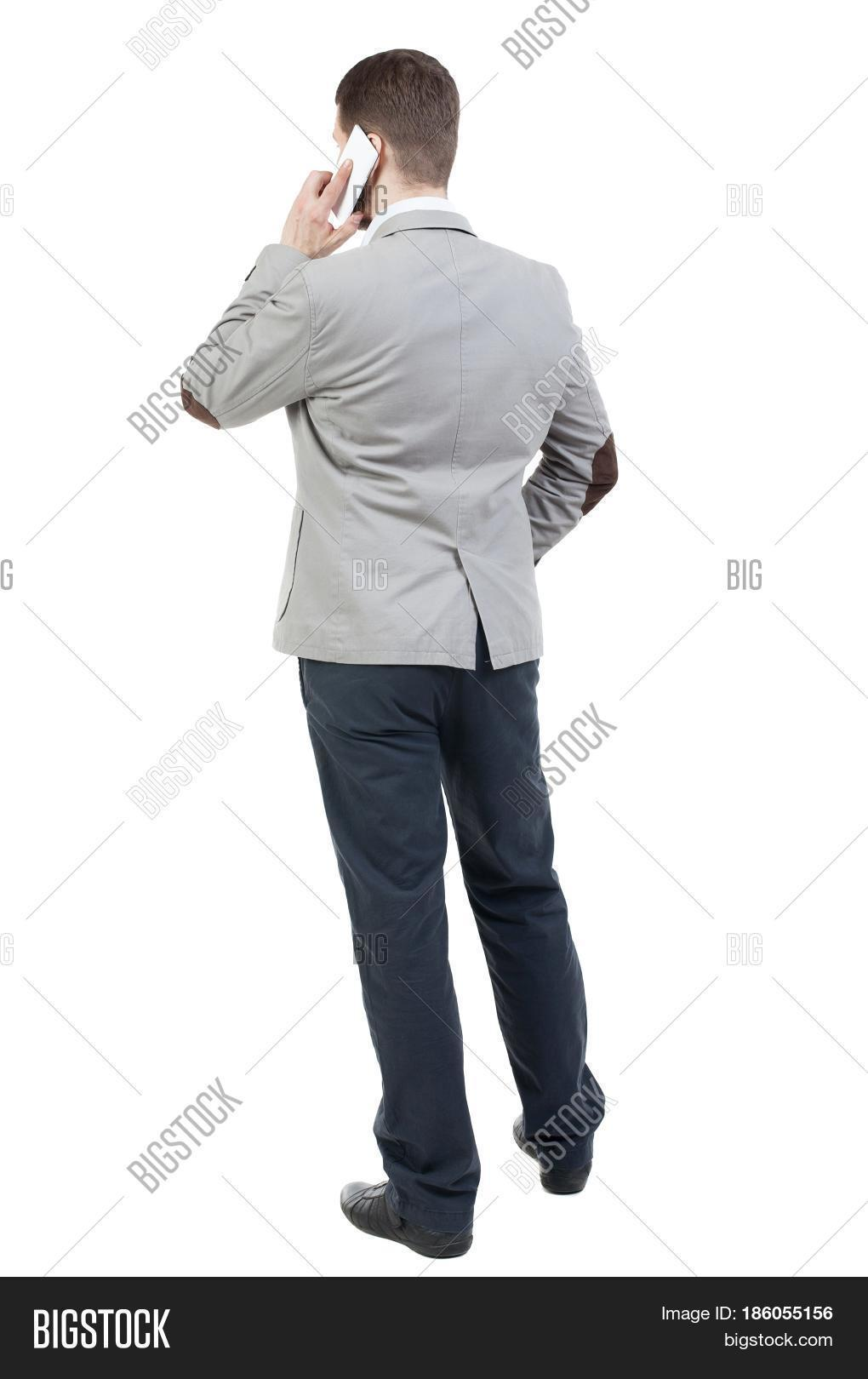 Back View Business Man Suit Talking Image & Photo | Bigstock