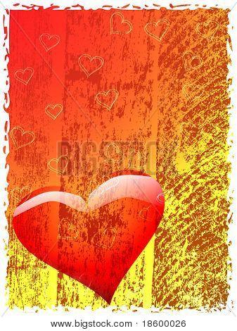 Heart on the splotchy background