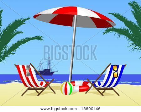 Two chair and umbrella on the beach