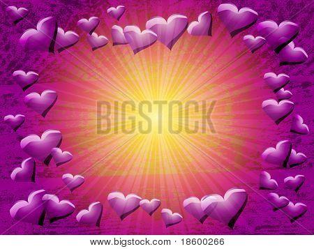 Hearts on the purple splotchy background