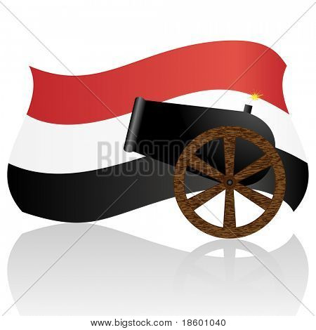 Egyptian Flag and old cannon isolated on white