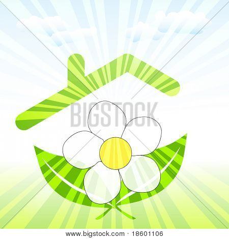 White flower under green roof covered with sun rays
