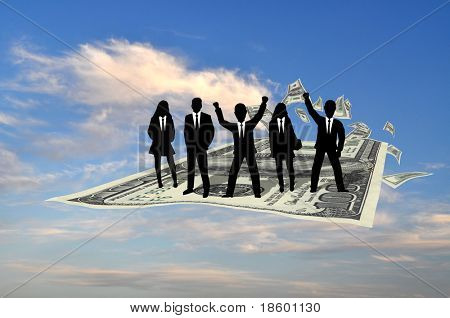 Business team flying on the hundred dollars banknote