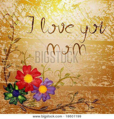 Mother's day card with flowers on the brown splotchy background