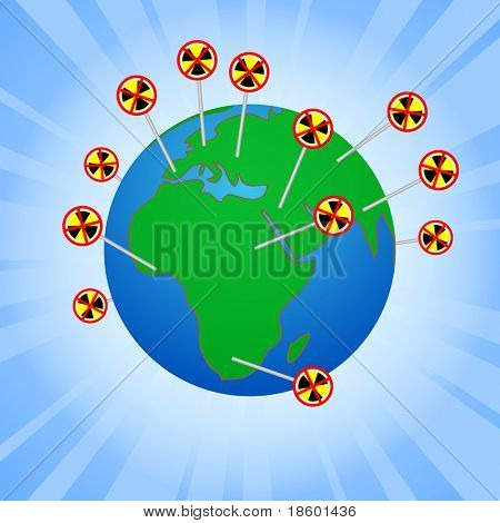 Earth globe with anti-nuclear anti-nuclear protests worldwide
