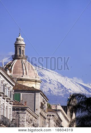 Volcano Etna View From Catania