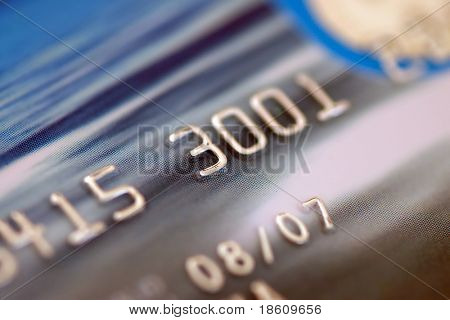 Credit card digits. Macro, shallow DOF