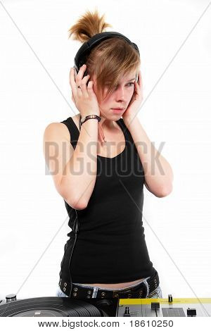 Female Dj Chick Listening To Music