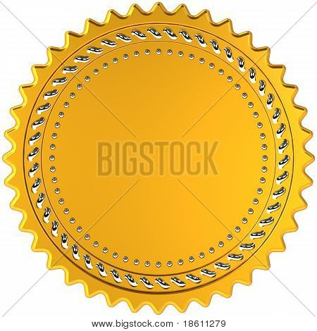 Award medal seal golden blank round