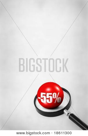 Sale Concept With 3D Ball And Magnifying Glass