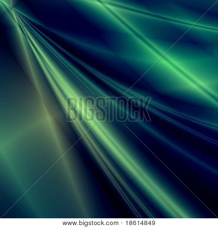 Green fantasy rays on dark background
