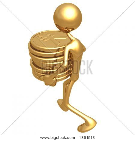 Man Carrying A Stack Of Gold Yen Coins In His Hands