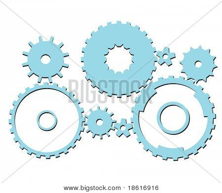 Set of different cogwheels isolated on white background