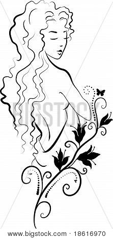 Doodle grafic drowing of spa woman