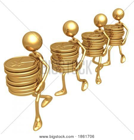 Carrying Stacks Of Gold Coins