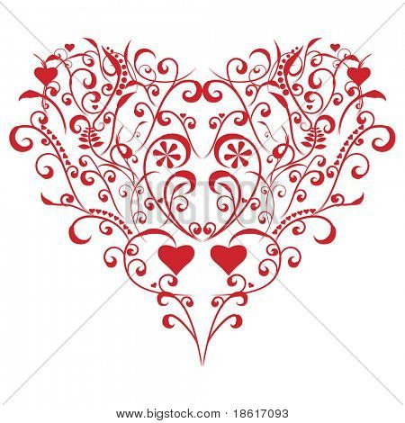 Stylized valentine heart on white background