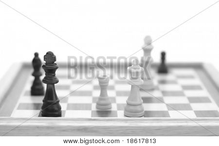 Chess pieces on board. Checkmate