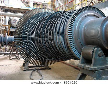 Power Generator Steam Turbine During Repair, Machinery At A Power Plant