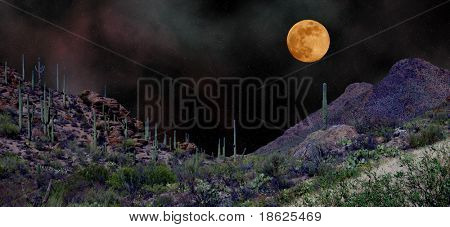 Moon rising over Arizona Desert