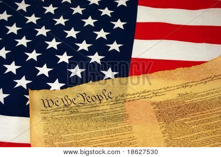 American Flag with Constitution