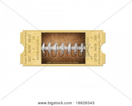 Football Ticket on White
