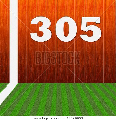 Baseball Stadium Wall with Foul Line.