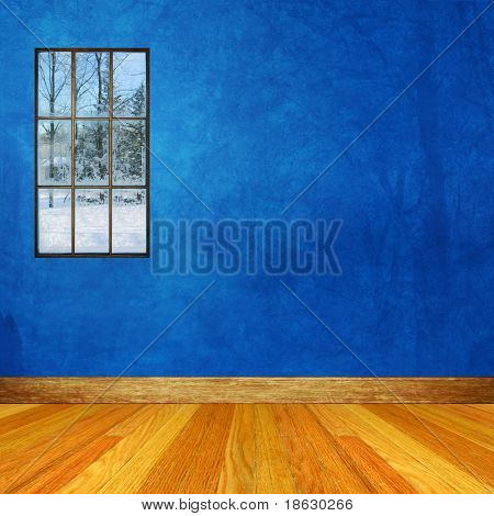 Blue Dimensional Room with Winter scene through Window.