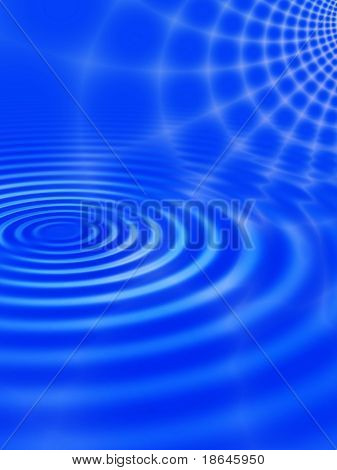 Fractal image of an abstract spider web against a blue sky reflected in rippled water.