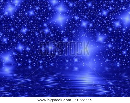 Fractal image of an abstract star galaxy or constellation.