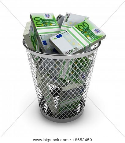 Euro in the trash bin