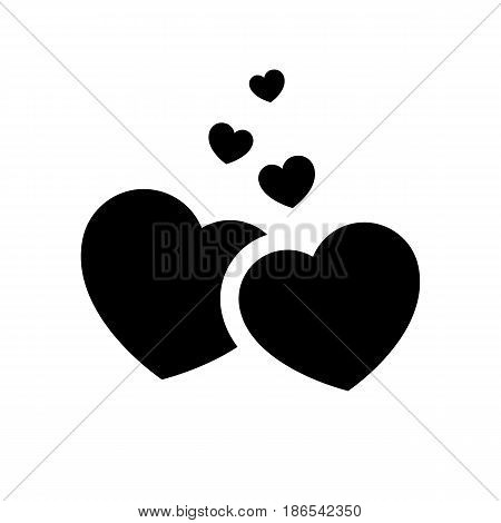 Hearts. Black icon isolated on white background