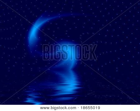 Fractal image depicting a worm hole in deep space reflected in water.