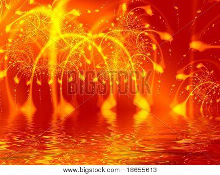 Fractal image representing a massive explosion or lit fireworks.