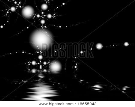 Imagem fractal de uma molécula orgânica complexa refletida na água.