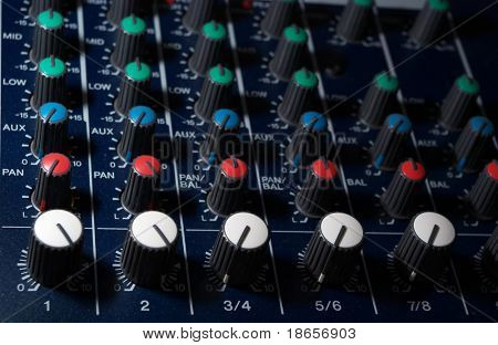 Abstract levels of mixing console.