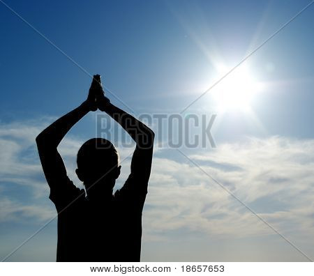 Silhouette of man and Sun. Conceptual design.