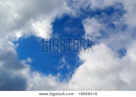 Heart sign in sky. Nature composition.