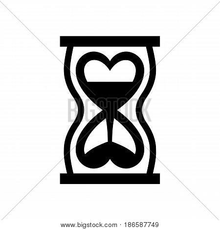 Hourglass. Black icon isolated on white background