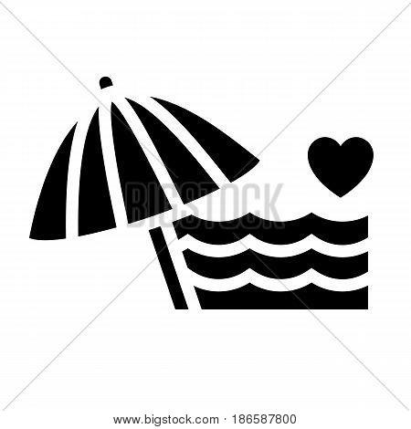 Beach. Black icon isolated on white background