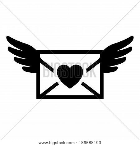 Romantic mail. Black icon isolated on white background