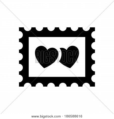 Pic love. Black icon isolated on white background