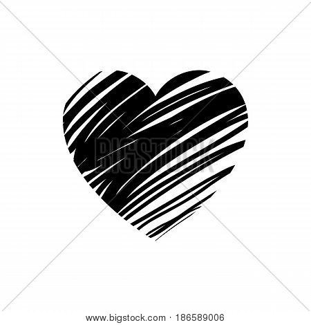 Heart. Black icon isolated on white background