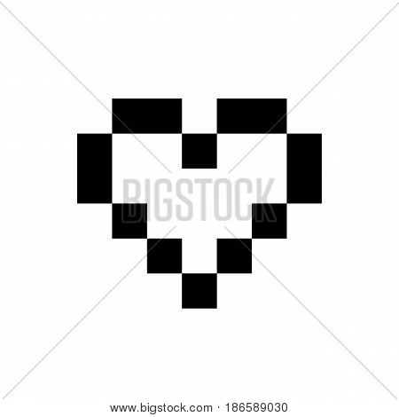 Heart pixel. Black icon isolated on white background