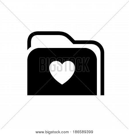 Folder. Black icon isolated on white background