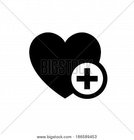 heart plus. symbol. Black icon isolated on white background