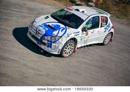 YALTA, UK-SEPTEMBER 11: Ukrainian team in the race on Peugeot 206, Race Yalta Prime Rally, September 11, 2010 in Yalta, Ukraine.